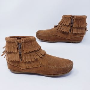 Minnetonka Double Fringe Side Zip Moccasins Boots